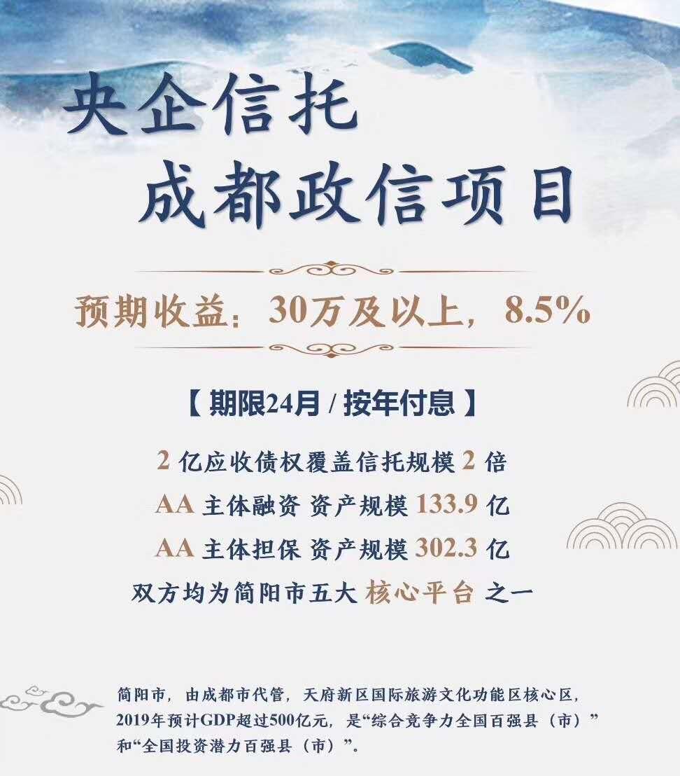 中铁信托-优债1950期简阳水投优质项目